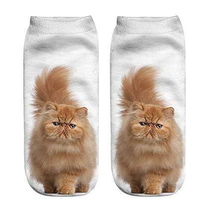 YJYDADA Calcetines de tobillera con diseño de gato 3D ...