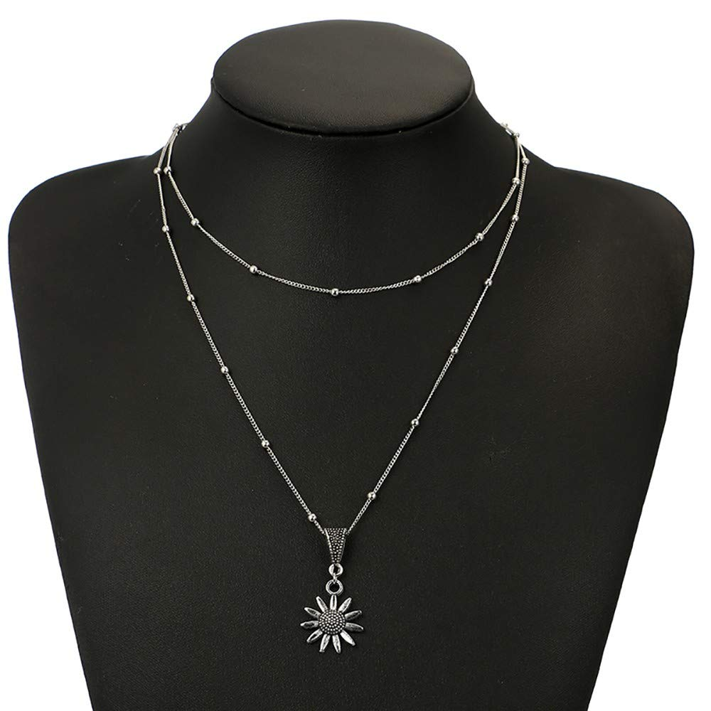 Thenxin Double Layering Dainty Chain Sunflower Pendant Choker Necklace,Multi-Layer Flower Clavicle Chain for Women