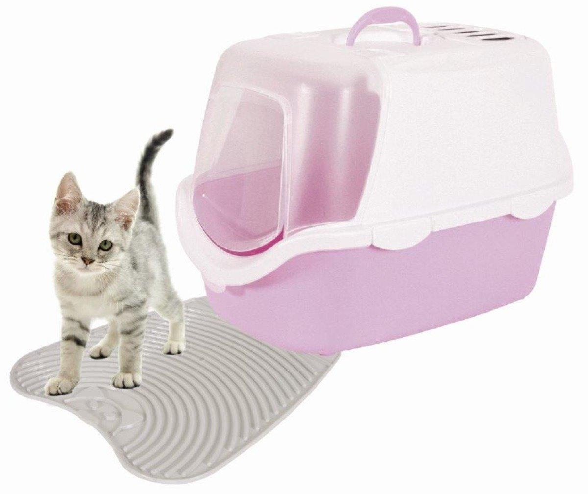 Zolux Cathy Easy Clean Maison de Toilette pour Chat Blanc/Bleu Clair 56 x 40 x 40 cm 400419.0