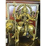 Brass Sculpture Statue Durga Seated on a Lion Hindu Goddess of Power Altar Yoga Meditation Decor