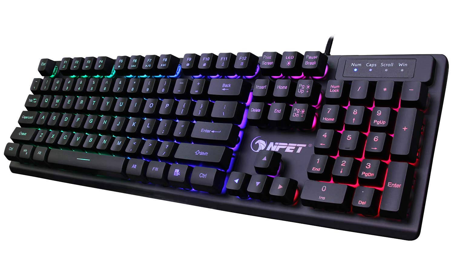 25% Off NPET K10 USB Wired Floating Gaming Keyboard