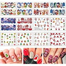 TailaiMei Christmas Nail Decals Stickers, 150Pcs Water Transfer Tips and 6 Sets Full Wrap DIY Nail Art Stencil With 1 Nail Buffer File. Include Christmas Tree/Santa/Snowflake/Snowman (12 Sheets)
