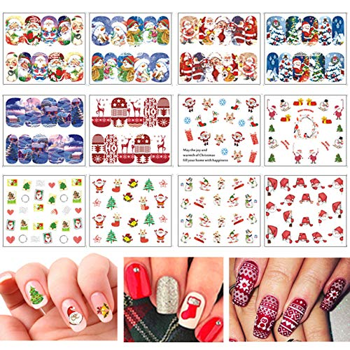 TailaiMei Christmas Nail Decals Stickers, 150Pcs Water Transfer Tips and 6 Sets Full Wrap DIY Nail Art Stencil With 1 Nail Buffer File. Include Christmas Tree/Santa/Snowflake/Snowman (12 Sheets)]()