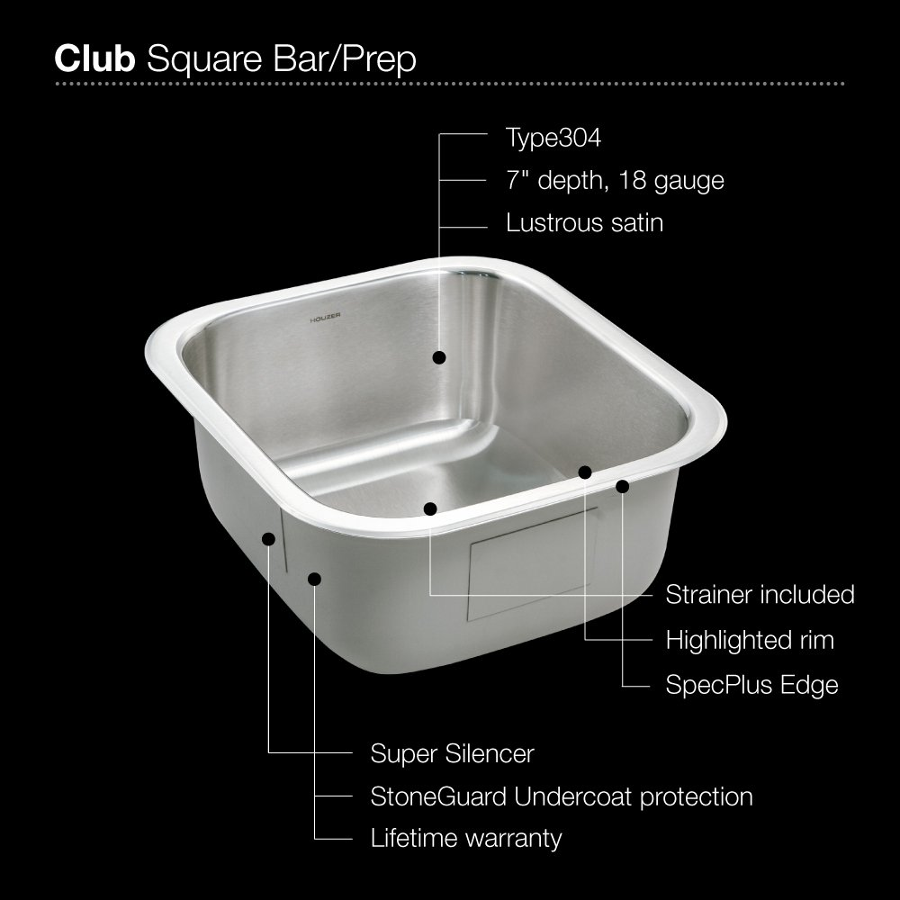 Houzer MS-1708-1 Club Series Undermount Stainless Steel Square Bowl Bar/Prep Sink by HOUZER (Image #3)