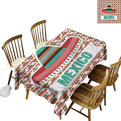 one1love Waterproof Table Cover Mexican Cultural Ethnic Hat Costume Table Cover for Dining 50