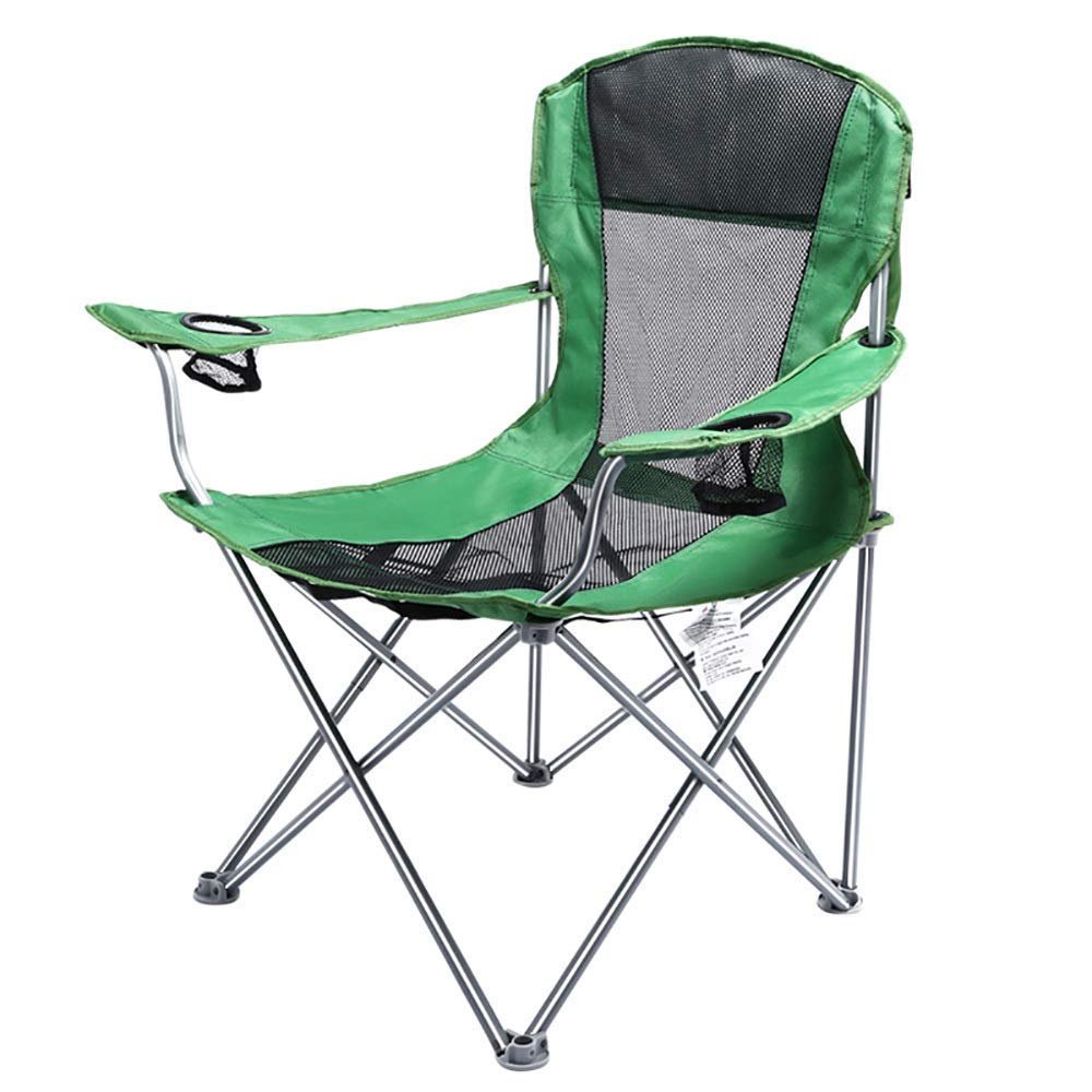 Outdoor Camp Portable Comfortable Chair Ultralight Breathable Chairs with Cup Holder Armrest Carry Bag for Festival, Beach, Hiking-Green by BSDBDF