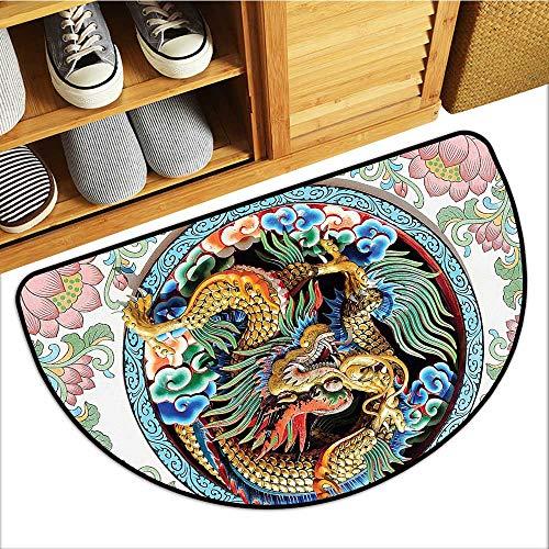 Simple Modern Carpet Ancient Legendary Chin Drag Backdrop oteric Dynasty cept Semi-Circular Floor Mats W23xH15 INCH