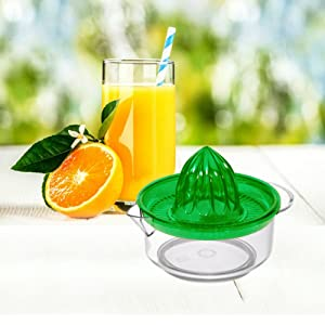 Uniware Fruit Juicer Strainer Reamer, Made in Italy, with Handle Pour Spout, BPA Free Colors may Vary (Green)