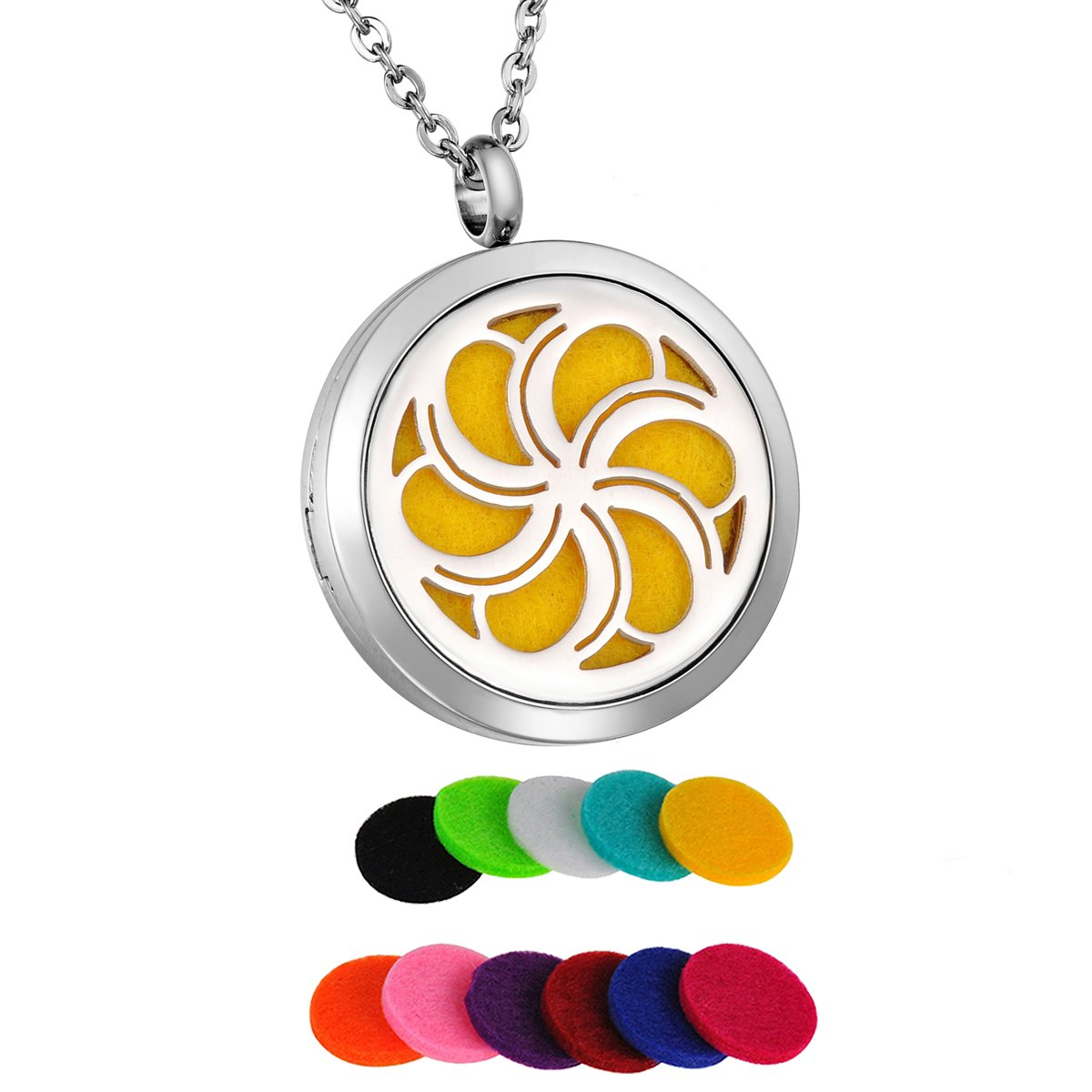 HooAMI Plumeria Flower Aromatherapy Essential Oil Diffuser Necklace Locket Pendant TY BETY104080