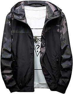 JERFER Autunno e Inverno Moda Camuffamento con Cappuccio Giacca Antivento da Uomo all'aperto Giacca Sportiva