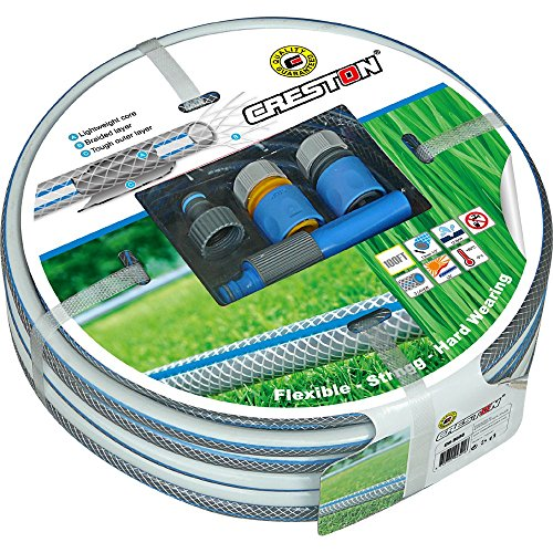 CRESTON Garden Hose (50 Foot) with Nozzle Sprayer and Tap, Hose and Stop Connectors - Best Heavy Duty Flexible Watering Hoses for Watering Lawn, Yard/Garden, Car Wash, Washing Pets, Home Cleaning
