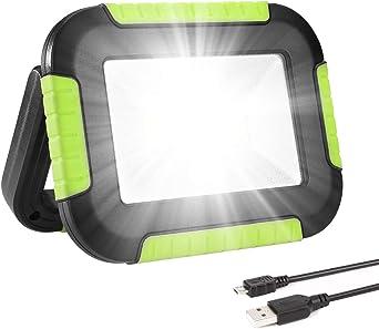 LE Luz de Trabajo Portátil 10W, Foco LED 1000 Lúmen USB Recargable ...
