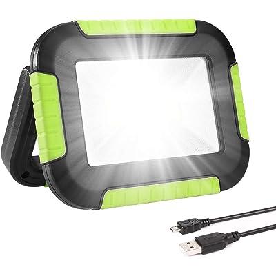 LE Luz de Trabajo Portátil 10W, Foco LED 1000 Lúmen USB Recargable, 3 Modos, Banco de Energía 4400 mAh, Resistente al Agua IPX4, Linterna de Cámping para Emergencia, Pesca, Cortes de Energía y Más