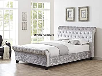 2c3a7d5f014c6 UKBED MANUFACTURER CHESTERFIELD SLEIGH STYLE SILVER UPHOLSTERED CRUSHED  VELVET DIAMONDS BEDS FRAMES 5 FT KING SIZE