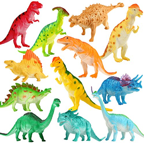 7 Species Collection (Dinosaur Figure, 7 Inch Jumbo Dinosaur Toy Playset(12 pack), Safe Material Assorted Realistic Dinosaur,Yeonha Toys Vinyl Plastic Dino Dinosaur Set Party Favors Toys For Kids Boys Toddler Educational)