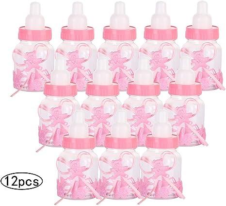 12 PCS Botellas de baby,caja biberones plastico botella dulces, biberón de plástico mini botella de caramelo caja de regalo para fiesta de baby shower, cumpleaños Fiesta (Rosa): Amazon.es: Bebé