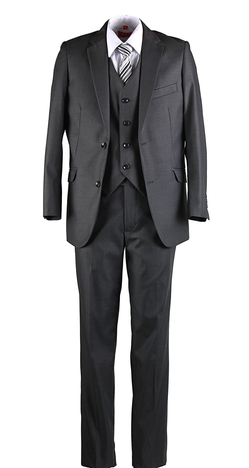 8244beaf918 Amazon.com: Boys Slim Fit Dark Grey Suit in Toddlers to Boys Sizing:  Clothing