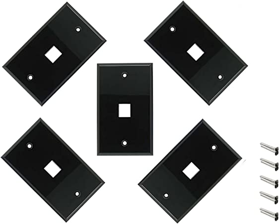 5x 2 Port Hole 1-Gang Wall Plate Keystone Jack Insert Snap-in Label Window White