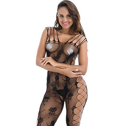 24a05cabfc Balakie Fishnet Bodystocking Women Sexy Lingerie Multiterm Baldric  Bodysuits Nightwear (One size