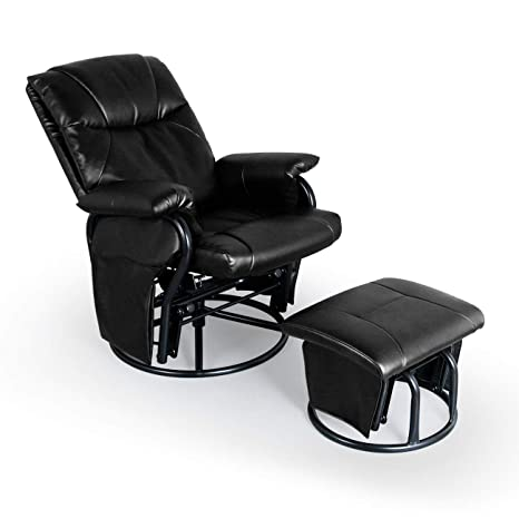 Brilliant Aodailihb Glider Chairs Rocking Chair With Ottoman 3600 Swivel Chair Pu Leather Upholstered Armchair Lounge Chair Sliding Chair Set Black Ibusinesslaw Wood Chair Design Ideas Ibusinesslaworg