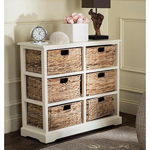 Safavieh American Homes Collection Keenan Distressed White 6 Wicker Basket Storage Chest (White Basket Distressed)