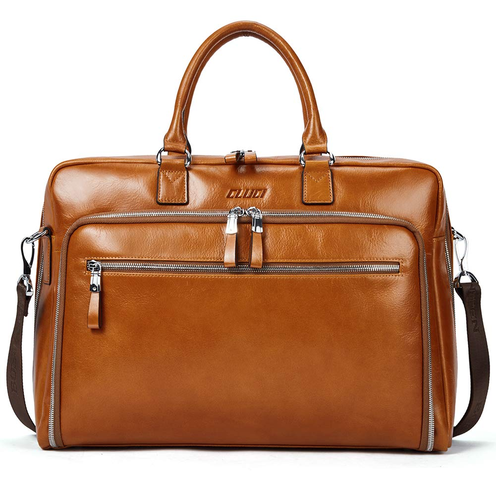 Cluci Oil Wax Genuine Leather Briefcases for Men Slim 15.6'' Laptop Business Shoulder Bags for Women Brown