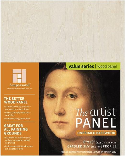 Ampersand Art Supply Unprimed Basswood Artist Panel 1-1//2 Cradled Profile 5x7,
