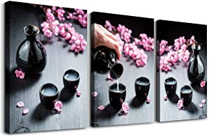 AHUAART 3 piece Framed Canvas Wall Art for Living Room Bedroom wall Decoration, modern kitchen Wall Artworks restaurant bathroom Wall decor inspiration Cherry blossoms Hip flask painting Home Decor