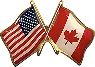 product image for Gettysburg Flag Works Set of 3 Canada & U.S. Crossed Flags Double Waving Friendship Lapel Pin - Made in The USA