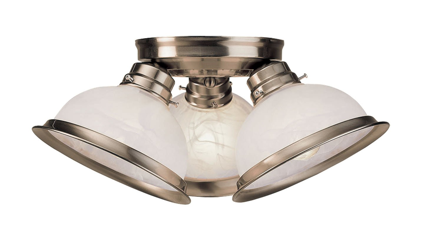 Livex Lighting 8108-91 Home Basics 3 Brushed Nickel Flush Mount with White Alabaster Glass