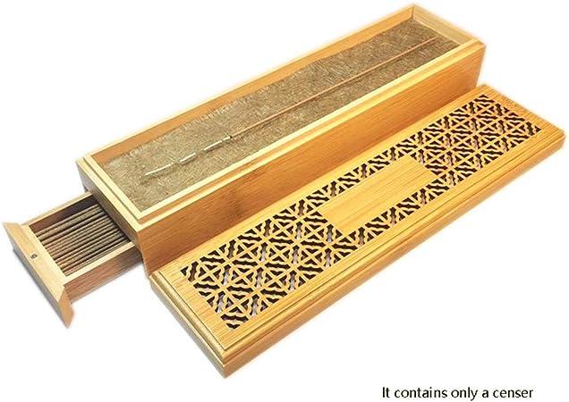 AILI Hogar Porta-inciensos Quemador de Incienso de bambú con cajón Cense Caja de Almacenamiento Caja de Madera Hueca Caja de Madera de Incenso Porta- inciensos (Color : Natural): Amazon.es: Hogar