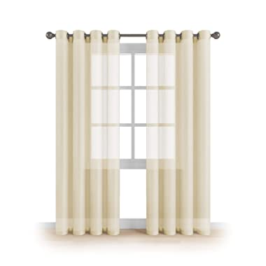 "MEMIAS Grommet Semi Sheer Luxury 2 Panels Total Wide 108"" (Each Curtain 54""Wx84""L) Window Home Decor and Upscale Design Light Penetrating & Privacy Soft Durable Polyester Easy Upkeep (Butter Cream)"