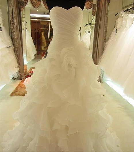 HAPPYMOOD Vestito da Sposa Abito da Sposa Abito di Pizzo Abito in Chiffon  Vestito Lunghezza del e18d064a591