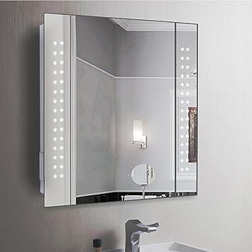Anaelle Pandamoto Armoire De Toilette A Miroir Eclairage Lumineux Led Integre  Porte Sur Salle