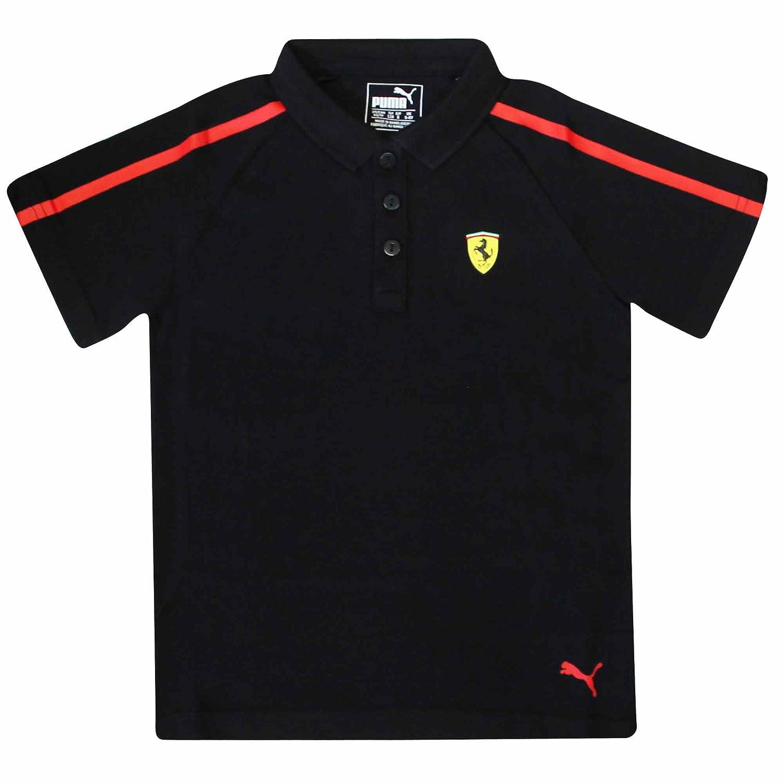 Ferrari Official F1 Scuderia Kids Polo Shirt by Puma (100% Cotton) Scuderia Ferrari FERRARI KIDS POLO03 BLK
