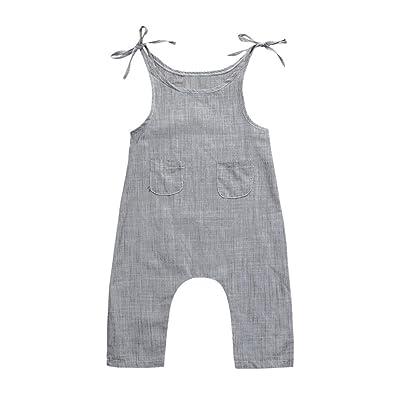 Winsummer Toddler Infant Boys Girls Linen Sleeveless Braces Strap Romper Jumpsuit Pant Coveralls Summer Clothes