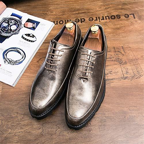 2018 scarpe da Scarpe Gold Business spessa Light Oxford Fashion UK Light Gold da shoes Classic eleganti 8 pelle impermeabile casual 5 in Hongjun uomo verniciata uomo TCI5w