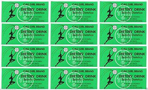 - Lot of 24 Cali Girl Brand Dieters' Tea Drink For Men and Women (144 Tea Bags)