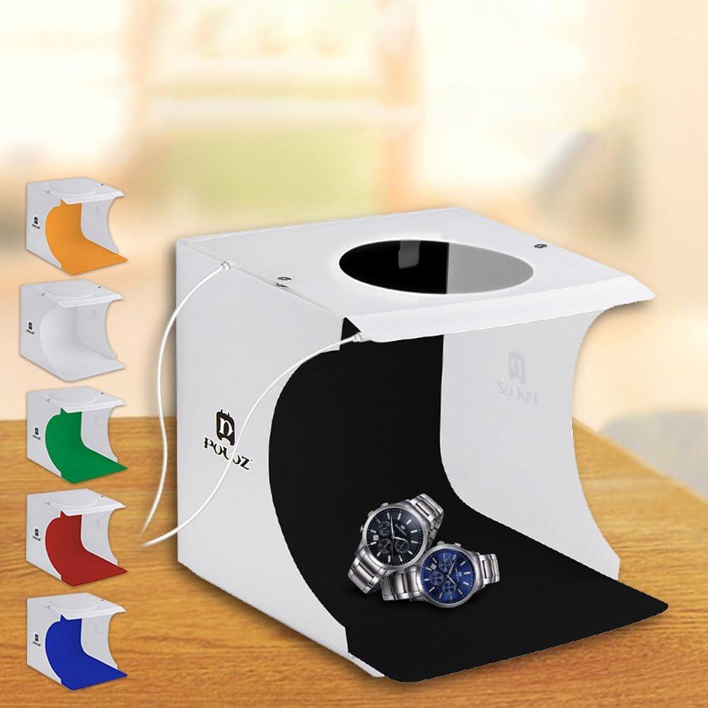 Amyove 20cm x 20cm 2 LEDs Portable Folding Studio Light Box Photography Softbox