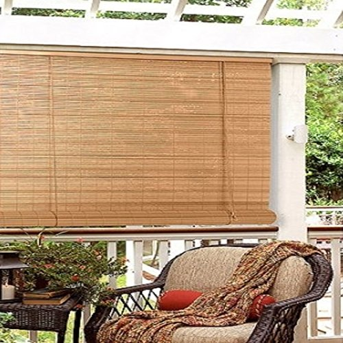 Woodgrain Oval PVC Washable Roll Up Blinds with Automatic Cord Lock, (Vinyl Oval Shade)