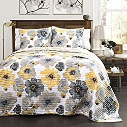 Lush Decor Leah Quilt 3 Piece Set, Full/Queen, Yellow/Gray