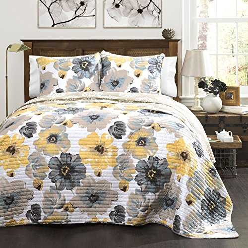 Lush Decor Leah Quilt Floral 3 Piece Reversible, Full/Queen, Yellow & Gray ()