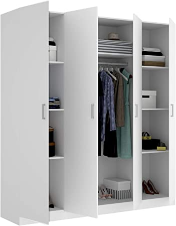 HABITMOBEL Armario ropero de Cuatro Puertas, Oficina o almacenaje Blanco, Medidas 200 cm (Largo) x 215 cm (Alto) x 52 cm (Fondo)