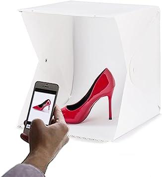 Iycorish - Caja de luz para fotografía con Dos Tiras de luz LED (13 x 13 x 12), Incluye Dos Fondos para Estudio fotográfico: Amazon.es: Electrónica