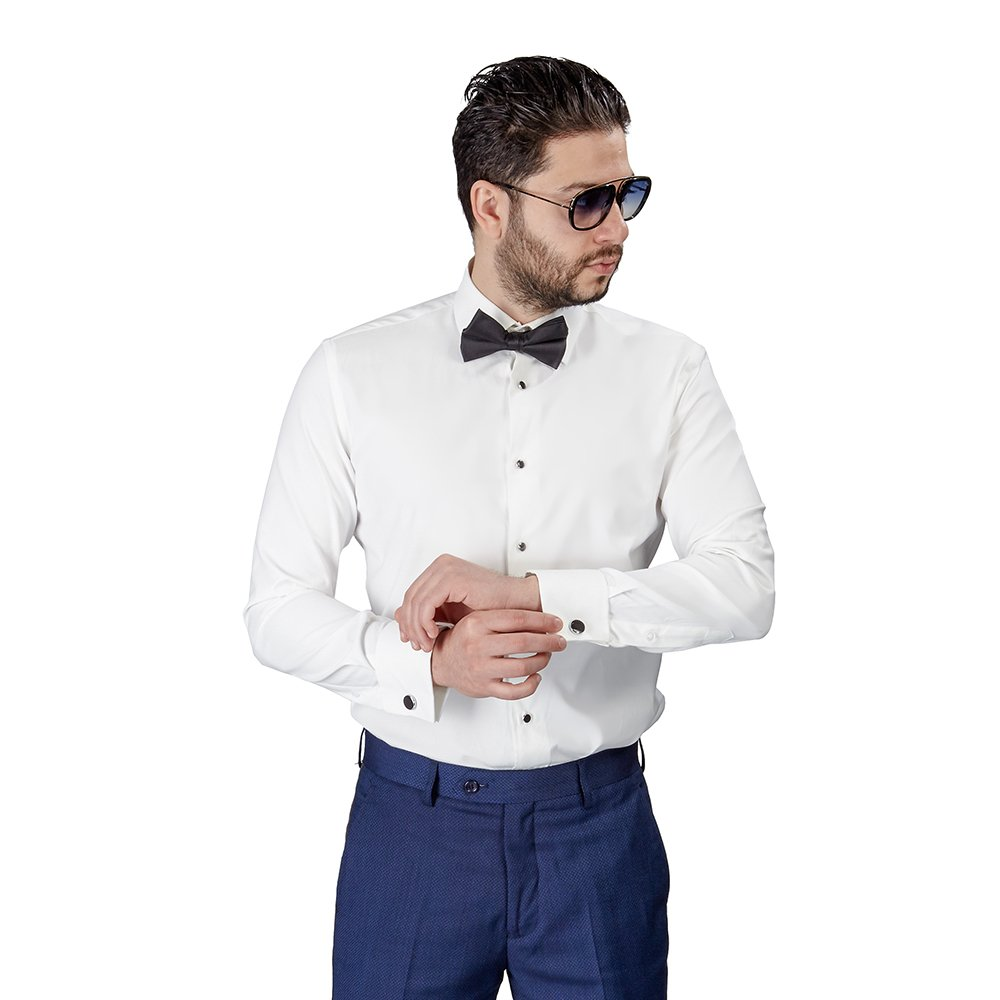 AZAR MAN New Mens Tailored Slim Fit Off White Ivory Lay Down Tuxedo Shirt French Cuff by