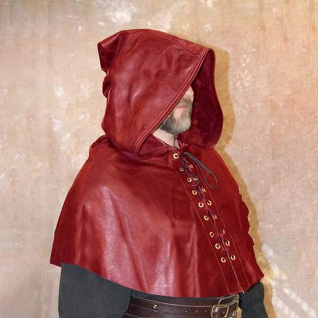 Yying Herren Mittelalter Umhang Vintage Lace-up Kurze Umhang mit Kapuze Vampir Poncho Cape Renaissance Victoria Cosplay Kost/üm
