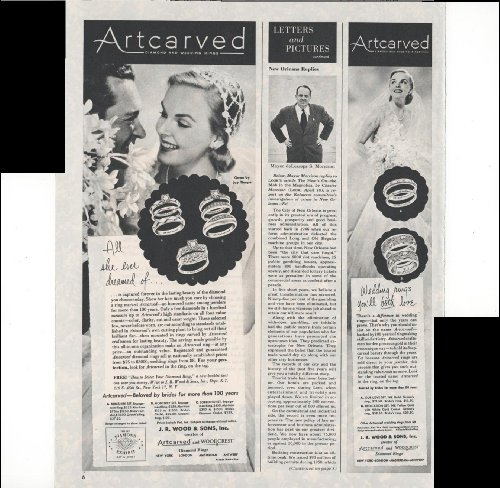 Artcarved Woodcrest Diamond Rings J.R. Wood & Sons Inc. Beloved By Brides For 100 Years 1951 Vintage Antique Advertisement