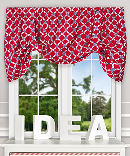 Ellis Curtain Andros Link Pattern 100-Percent Cotton Lined Tie-Up Valance (50