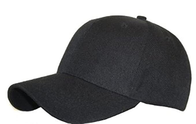 b736f3d307d Plain Classic 6 Panel Baseball Cap Black  Amazon.co.uk  Clothing