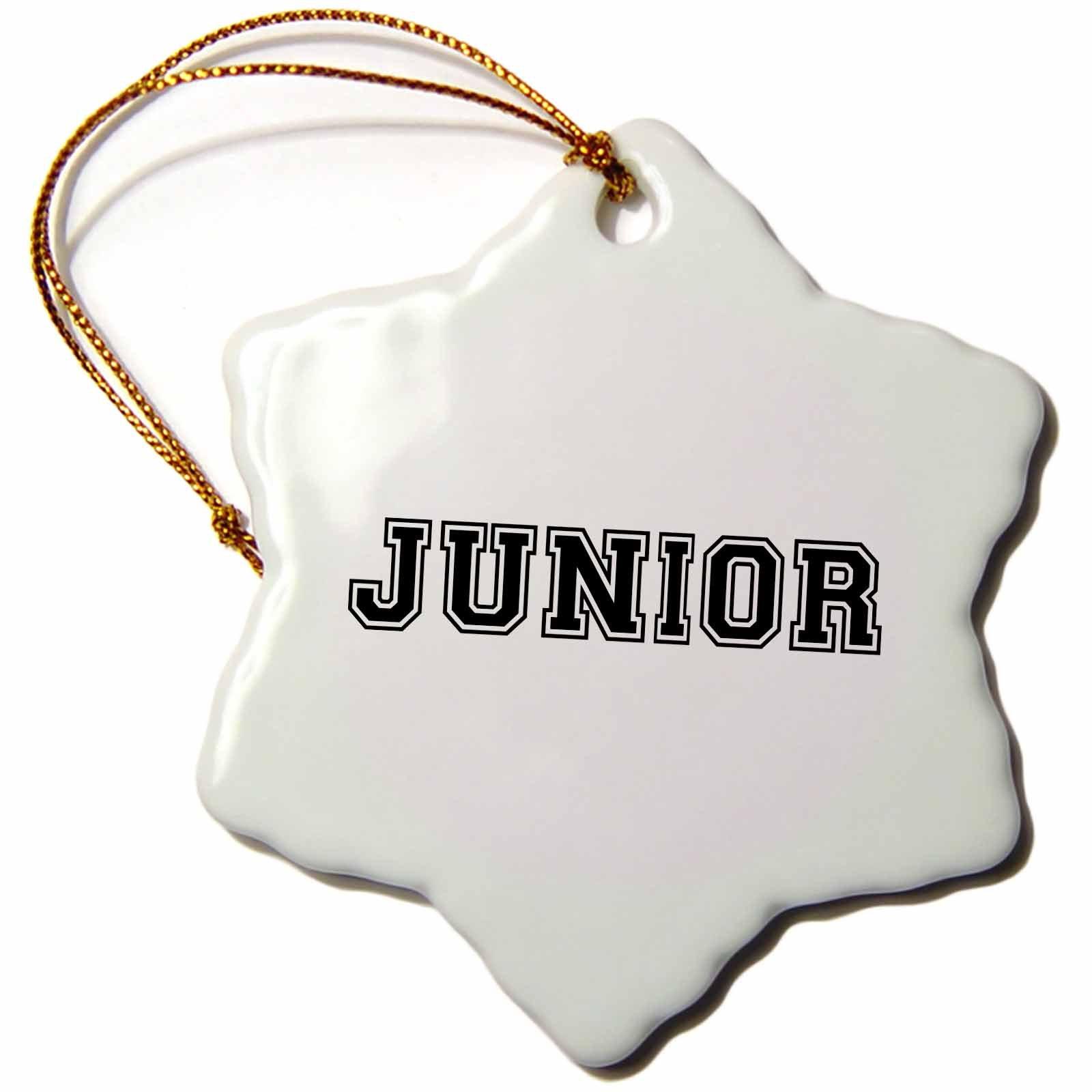 3dRose orn_151226_1 Junior-School Year Souvenir Jr Gift-Black Preppy Text-College High School Gifts-Snowflake Ornament, 3-Inch, Porcelain